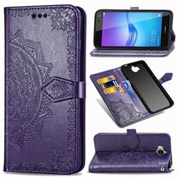 Embossing Imprint Mandala Flower Leather Wallet Case for Huawei Y5 (2017) - Purple