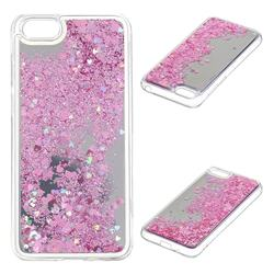 Glitter Sand Mirror Quicksand Dynamic Liquid Star TPU Case for Huawei Y5 Prime 2018 (Y5 2018) - Cherry Pink