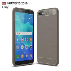 Luxury Carbon Fiber Brushed Wire Drawing Silicone TPU Back Cover for Huawei Y5 Prime 2018 (Y5 2018 / Y5 Lite 2018) - Gray