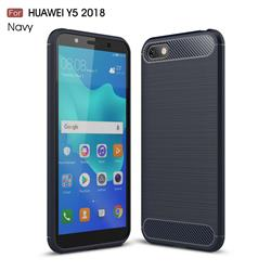 Luxury Carbon Fiber Brushed Wire Drawing Silicone TPU Back Cover for Huawei Y5 Prime 2018 (Y5 2018 / Y5 Lite 2018) - Navy