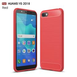 Luxury Carbon Fiber Brushed Wire Drawing Silicone TPU Back Cover for Huawei Y5 Prime 2018 (Y5 2018 / Y5 Lite 2018) - Red