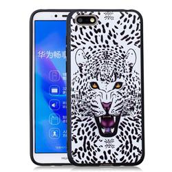 Snow Leopard 3D Embossed Relief Black Soft Back Cover for Huawei Y5 Prime 2018 (Y5 2018)
