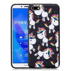 Rainbow Unicorn 3D Embossed Relief Black Soft Back Cover for Huawei Y5 Prime 2018 (Y5 2018)