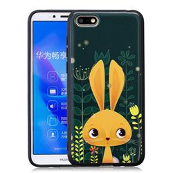 Cute Rabbit 3D Embossed Relief Black Soft Back Cover for Huawei Y5 Prime 2018 (Y5 2018)