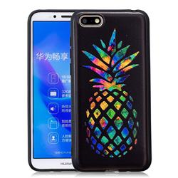 Colorful Pineapple 3D Embossed Relief Black Soft Back Cover for Huawei Y5 Prime 2018 (Y5 2018)