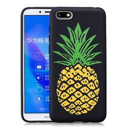 Big Pineapple 3D Embossed Relief Black Soft Back Cover for Huawei Y5 Prime 2018 (Y5 2018)