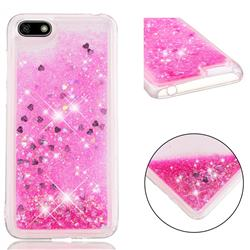 Dynamic Liquid Glitter Quicksand Sequins TPU Phone Case for Huawei Y5 Prime 2018 (Y5 2018 / Y5 Lite 2018) - Rose