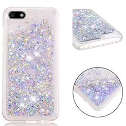 Dynamic Liquid Glitter Quicksand Sequins TPU Phone Case for Huawei Y5 Prime 2018 (Y5 2018 / Y5 Lite 2018) - Silver