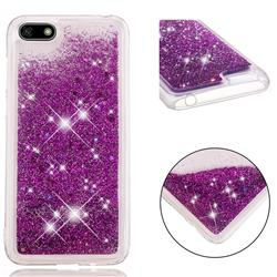 Dynamic Liquid Glitter Quicksand Sequins TPU Phone Case for Huawei Y5 Prime 2018 (Y5 2018 / Y5 Lite 2018) - Purple