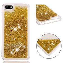 Dynamic Liquid Glitter Quicksand Sequins TPU Phone Case for Huawei Y5 Prime 2018 (Y5 2018 / Y5 Lite 2018) - Golden