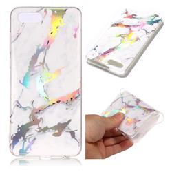 White Marble Pattern Bright Color Laser Soft TPU Case for Huawei Y5 Prime 2018 (Y5 2018)