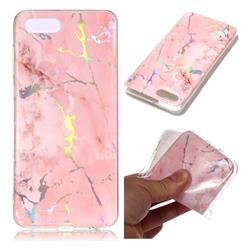 Powder Pink Marble Pattern Bright Color Laser Soft TPU Case for Huawei Y5 Prime 2018 (Y5 2018)