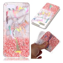 Powder Sandstone Marble Pattern Bright Color Laser Soft TPU Case for Huawei Y5 Prime 2018 (Y5 2018 / Y5 Lite 2018)