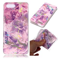 Purple Marble Pattern Bright Color Laser Soft TPU Case for Huawei Y5 Prime 2018 (Y5 2018)