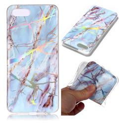 Light Blue Marble Pattern Bright Color Laser Soft TPU Case for Huawei Y5 Prime 2018 (Y5 2018)