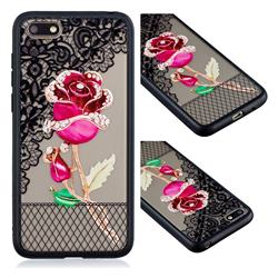 Rose Lace Diamond Flower Soft TPU Back Cover for Huawei Y5 Prime 2018 (Y5 2018)