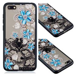 Lilac Lace Diamond Flower Soft TPU Back Cover for Huawei Y5 Prime 2018 (Y5 2018)