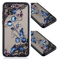 Butterfly Lace Diamond Flower Soft TPU Back Cover for Huawei Y5 Prime 2018 (Y5 2018)