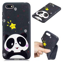 Cute Bear 3D Embossed Relief Black TPU Cell Phone Back Cover for Huawei Y5 Prime 2018 (Y5 2018)