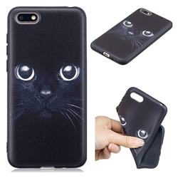 Bearded Feline 3D Embossed Relief Black TPU Cell Phone Back Cover for Huawei Y5 Prime 2018 (Y5 2018)