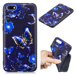 Phnom Penh Butterfly 3D Embossed Relief Black TPU Cell Phone Back Cover for Huawei Y5 Prime 2018 (Y5 2018 / Y5 Lite 2018)
