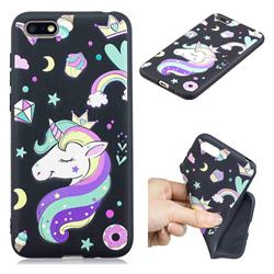 Candy Unicorn 3D Embossed Relief Black TPU Cell Phone Back Cover for Huawei Y5 Prime 2018 (Y5 2018)