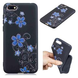 Little Blue Flowers 3D Embossed Relief Black TPU Cell Phone Back Cover for Huawei Y5 Prime 2018 (Y5 2018)