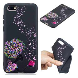 Corolla Girl 3D Embossed Relief Black TPU Cell Phone Back Cover for Huawei Y5 Prime 2018 (Y5 2018 / Y5 Lite 2018)