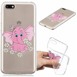 Tiny Pink Elephant Clear Varnish Soft Phone Back Cover for Huawei Y5 Prime 2018 (Y5 2018 / Y5 Lite 2018)