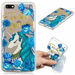 Blue Flower Unicorn Clear Varnish Soft Phone Back Cover for Huawei Y5 Prime 2018 (Y5 2018)