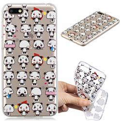 Mini Panda Clear Varnish Soft Phone Back Cover for Huawei Y5 Prime 2018 (Y5 2018)