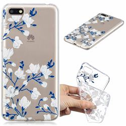 Magnolia Flower Clear Varnish Soft Phone Back Cover for Huawei Y5 Prime 2018 (Y5 2018)