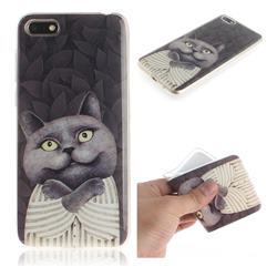 Cat Embrace IMD Soft TPU Cell Phone Back Cover for Huawei Y5 Prime 2018 (Y5 2018)