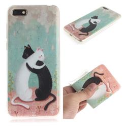 Black and White Cat IMD Soft TPU Cell Phone Back Cover for Huawei Y5 Prime 2018 (Y5 2018 / Y5 Lite 2018)