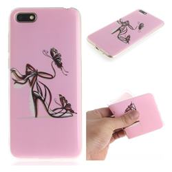 Butterfly High Heels IMD Soft TPU Cell Phone Back Cover for Huawei Y5 Prime 2018 (Y5 2018 / Y5 Lite 2018)