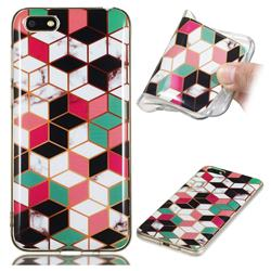Three-dimensional Square Soft TPU Marble Pattern Phone Case for Huawei Y5 Prime 2018 (Y5 2018)