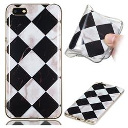 Black and White Matching Soft TPU Marble Pattern Phone Case for Huawei Y5 Prime 2018 (Y5 2018)