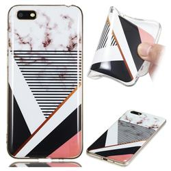 Pinstripe Soft TPU Marble Pattern Phone Case for Huawei Y5 Prime 2018 (Y5 2018)