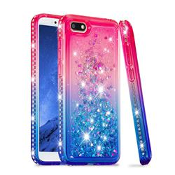Diamond Frame Liquid Glitter Quicksand Sequins Phone Case for Huawei Y5 Prime 2018 (Y5 2018 / Y5 Lite 2018) - Pink Blue