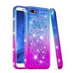 Diamond Frame Liquid Glitter Quicksand Sequins Phone Case for Huawei Y5 Prime 2018 (Y5 2018 / Y5 Lite 2018) - Blue Purple