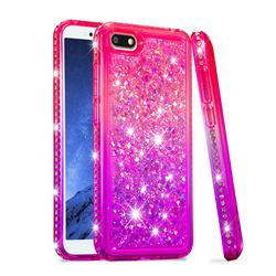 Diamond Frame Liquid Glitter Quicksand Sequins Phone Case for Huawei Y5 Prime 2018 (Y5 2018 / Y5 Lite 2018) - Pink Purple