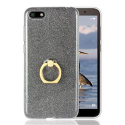 Luxury Soft TPU Glitter Back Ring Cover with 360 Rotate Finger Holder Buckle for Huawei Y5 Prime 2018 (Y5 2018 / Y5 Lite 2018) - Black