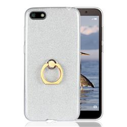 Luxury Soft TPU Glitter Back Ring Cover with 360 Rotate Finger Holder Buckle for Huawei Y5 Prime 2018 (Y5 2018 / Y5 Lite 2018) - White