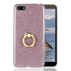 Luxury Soft TPU Glitter Back Ring Cover with 360 Rotate Finger Holder Buckle for Huawei Y5 Prime 2018 (Y5 2018 / Y5 Lite 2018) - Pink
