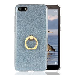 Luxury Soft TPU Glitter Back Ring Cover with 360 Rotate Finger Holder Buckle for Huawei Y5 Prime 2018 (Y5 2018 / Y5 Lite 2018) - Blue