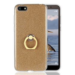Luxury Soft TPU Glitter Back Ring Cover with 360 Rotate Finger Holder Buckle for Huawei Y5 Prime 2018 (Y5 2018 / Y5 Lite 2018) - Golden