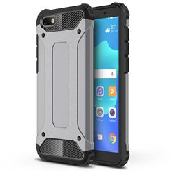 King Kong Armor Premium Shockproof Dual Layer Rugged Hard Cover for Huawei Y5 Prime 2018 (Y5 2018 / Y5 Lite 2018) - Silver Grey