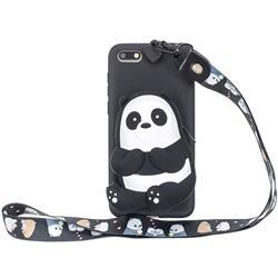 Cute Panda Neck Lanyard Zipper Wallet Silicone Case for Huawei Y5 Prime 2018 (Y5 2018 / Y5 Lite 2018)