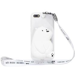 White Polar Bear Neck Lanyard Zipper Wallet Silicone Case for Huawei Y5 Prime 2018 (Y5 2018 / Y5 Lite 2018)