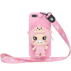Pink Pig Neck Lanyard Zipper Wallet Silicone Case for Huawei Y5 Prime 2018 (Y5 2018 / Y5 Lite 2018)